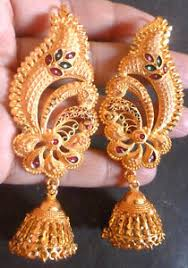 gold jhumka earrings 22k gold plated wedding jhumka earrings bridal set d ebay