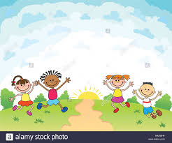 children are jumping on the glade bunner cartoon funny vector