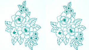 simple pencil sketch rose flowers for embroidery saree designs