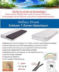 K Hen Sofort Kaufen 20 Cm 7 Zonen Gelschaum Matratze Wellness Dream Alle