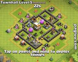 coc village layout level 5 clash of clan best defense towhn hall level 5 pagluu 3 cars