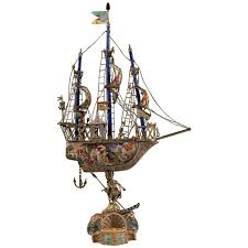 Ship Chandelier A Very Fine Viennese Parcel Gilt Silver And Enamel Sailing Ship By