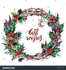 watercolor boho christmas wreath made dry stock illustration