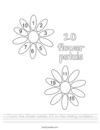 count the flower petals fill in the missing numbers worksheet