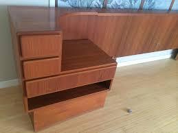 danish komfort king size headboard bed w built in nightstands