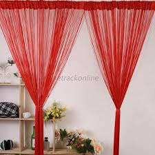 Red Scarf Valance Striking New Line String Window Curtain Tassel Door Room Divider
