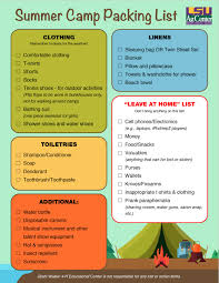 Louisiana travel packing list images Summer camp packing list jpg
