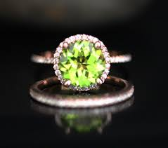 peridot engagement ring bridal wedding set auguest birthstone 9mm cut peridot