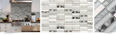 White Modern Glass Marble Metal Backsplash Backsplashcom - Glass and metal tile backsplash