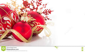 golden and red christmas ornaments on white background merry
