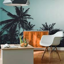 4 looks using summer inspired wall art for your home during winter retro palm trees wall mural