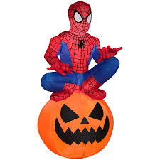 Lighted Halloween Costumes by Shop Gemmy 3 51 Ft Lighted Spider Man Halloween Inflatable At