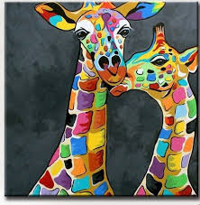 modern giraffe ring holder images Giraffe picture art for living room hand painted modern abstract jpg