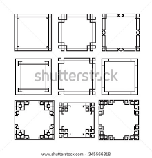 asian frame ornament pattern brush korean stock vector 345566318