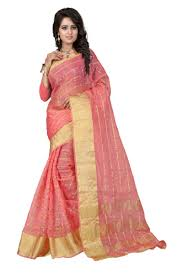 buy see more self designer orgenza baby pink colour saree with