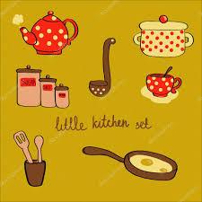 little kitchen set in cartoon style u2014 stock vector vera alferava
