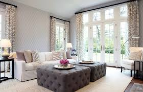 Using An Ottoman As A Coffee Table Tufted Ottoman Coffee Table In Living Room Transitional With