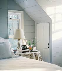 Nice Bedroom Unique Slanted Ceiling With White Bed And Pastel Grey Paint Color