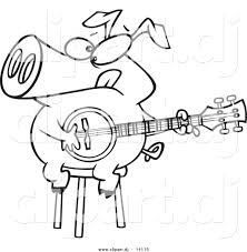 vector of cartoon pig sitting on a stool and playing a banjo