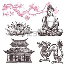 asian sketch set with lotus buddha dragon sakura branch isolated