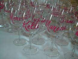 brush lettering on wine glasses lettering art studio