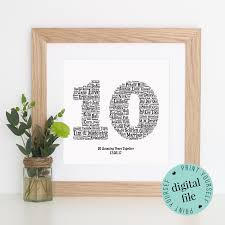 10 year wedding anniversary gifts 10th anniversary gift word printable gift 10 year