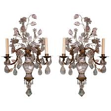 Antique Rock Crystal Chandelier Pair Of Rock Crystal Sconces By Maison Bagues From Trianon