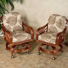 Dining Chairs With Casters Leikela Rattan Tropical Dining Furniture Set