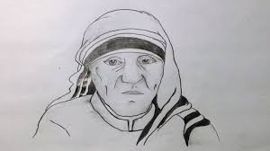 how to draw mother teresa picture with pencil sketch techniques