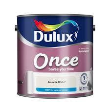 dulux once jasmine white matt emulsion paint 2 5l at homebase