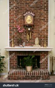 stylish brick fireplace inside american living stock photo 2136093