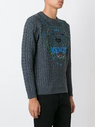 kenzo menu murphy kenzo tiger cable knit jumper clothing