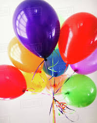 Close up of a bunch of colourful and shiny balloons  Stock Photo