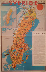 Map Sweden 1931 Travel Map Of Sweden Original Vintage Poster