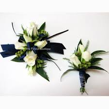 Royal Blue Boutonniere Navy With White Baby Rose Corsage And Boutonniere Navy To Match