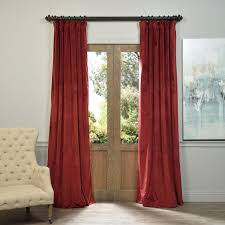Single Window Curtain by Signature Burgundy Blackout Velvet Pole Pocket Single Panel