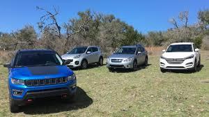 tucson jeep jeep compass vs hyundai tucson vs kia sportage vs subaru crosstrek