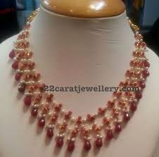 ruby drops necklace with small pearls drop necklace pearl