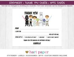 star wars thank you cards folded flat card notecard note