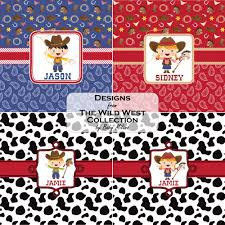 cowboy wrapping paper cowprint w cowboy placemat fabric personalized baby n toddler