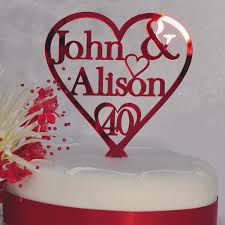 ruby wedding cakes awesome 40th ruby wedding anniversary personalised names heart