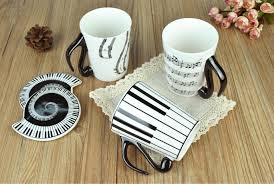 creative ceramic mug coffee water mug cup with lid music print