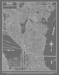 Seattle Maps Seattle Map Seattle Map Art Poster Gray Seattle Street Map