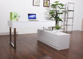 Modern Wood Office Desk Kd12 Contemporary Office Desk With Storage Cabinet Left Facing