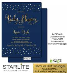 Baby Shower Invite Boy Navy Gold Glitter Sprinkles Baby Shower Invitation Boy Starlite