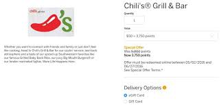 chili gift card save 25 when you redeem amex points for gift cards