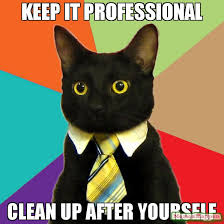 Clean Up Meme - keep it professional clean up after yourself meme business cat