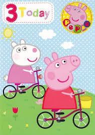 peppa pig 3 years old birthday card and badge partysmartys