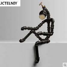 loft vintage water pipe table lamp personalized tieyi robot lamps