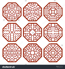 korean traditional vector patterns ornaments symbols stock vector